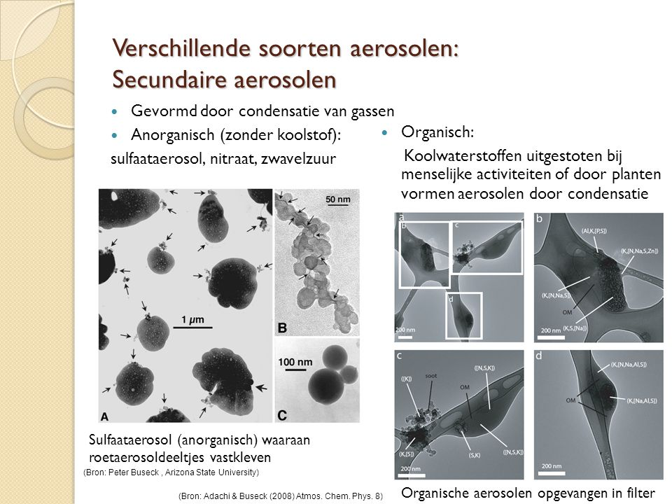 Verschillende soorten aerosolen: Secundaire aerosolen  Gevormd door condensatie van gassen  Anorganisch (zonder koolstof): sulfaataerosol, nitraat, zwavelzuur Sulfaataerosol (anorganisch) waaraan roetaerosoldeeltjes vastkleven  Organisch: Koolwaterstoffen uitgestoten bij menselijke activiteiten of door planten vormen aerosolen door condensatie Organische aerosolen opgevangen in filter (Bron: Adachi & Buseck (2008) Atmos.