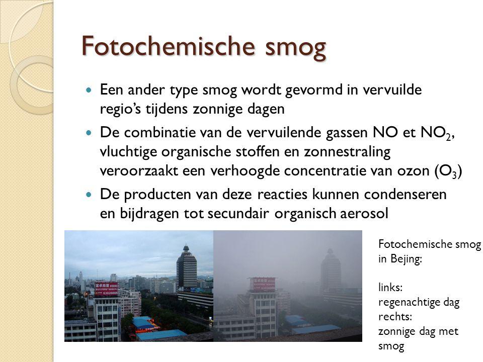 Fotochemische smog  Een ander type smog wordt gevormd in vervuilde regio's tijdens zonnige dagen  De combinatie van de vervuilende gassen NO et NO 2, vluchtige organische stoffen en zonnestraling veroorzaakt een verhoogde concentratie van ozon (O 3 )  De producten van deze reacties kunnen condenseren en bijdragen tot secundair organisch aerosol Fotochemische smog in Bejing: links: regenachtige dag rechts: zonnige dag met smog