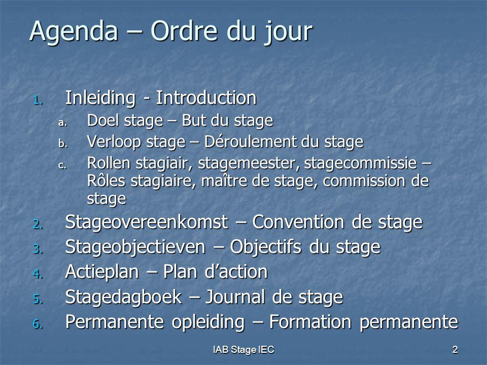 IAB Stage IEC53 Stagedagboek  Moet stagiair toelaten aan te tonen dat hij relevante praktische ervaring heeft opgedaan  Minimum 1000 uren/jaar (exclusief permanente vorming)  Rekening houdend met stageobjectieven  Stagedagboek wordt on-line bijgehouden via beveiligd IAB Stagesysteem  toegankelijk via de IAB website  afdrukbaar in gebruiksvriendelijk formaat