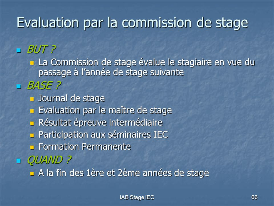 IAB Stage IEC66 Evaluation par la commission de stage  BUT .