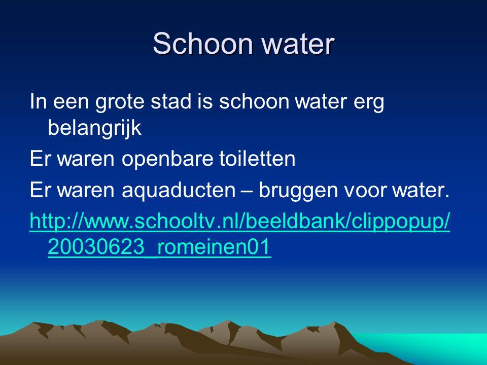 Schoon water In een grote stad is schoon water erg belangrijk Er waren openbare toiletten Er waren aquaducten – bruggen voor water. http://www.schoolt
