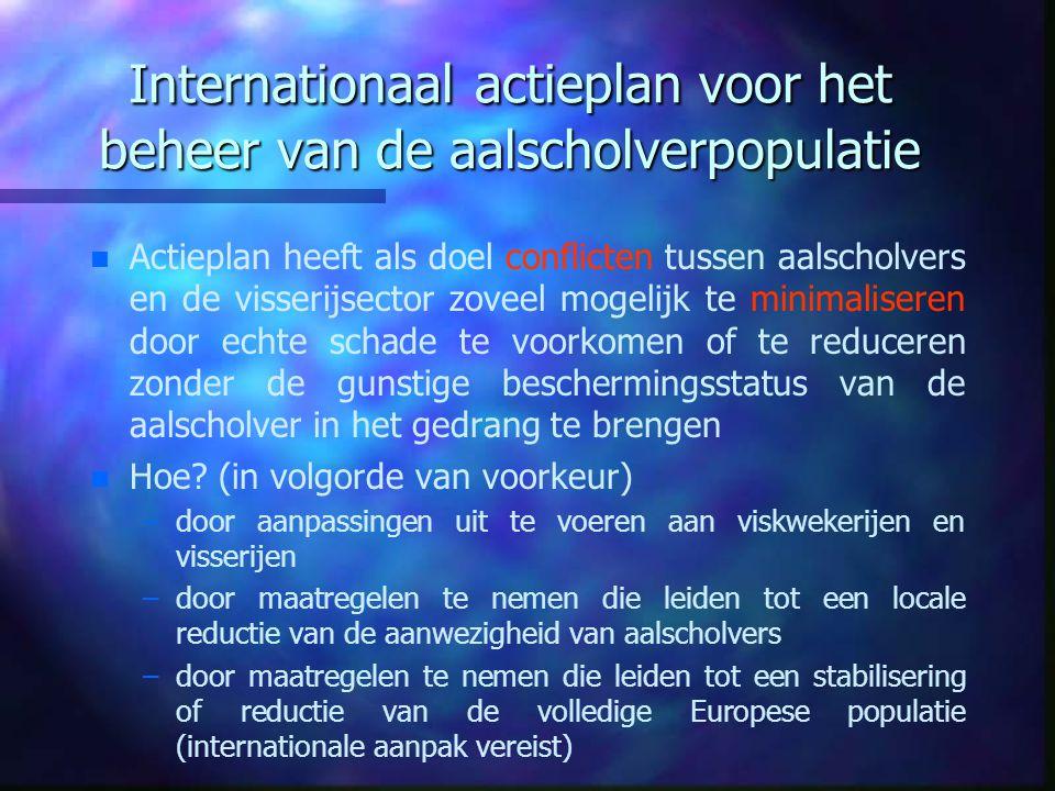Internationaal actieplan voor het beheer van de aalscholverpopulatie n n Actieplan heeft als doel conflicten tussen aalscholvers en de visserijsector