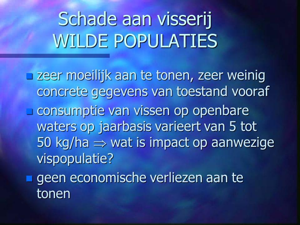 Schade aan visserij WILDE POPULATIES n zeer moeilijk aan te tonen, zeer weinig concrete gegevens van toestand vooraf n consumptie van vissen op openba
