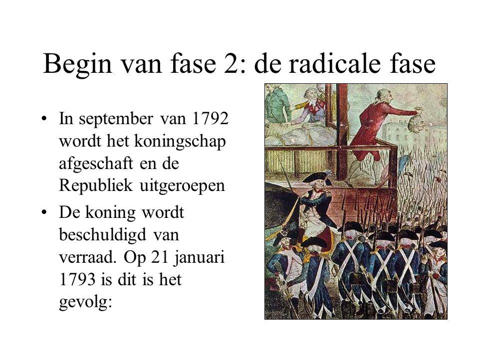 Begin van fase 2: de radicale fase •In september van 1792 wordt het koningschap afgeschaft en de Republiek uitgeroepen •De koning wordt beschuldigd va