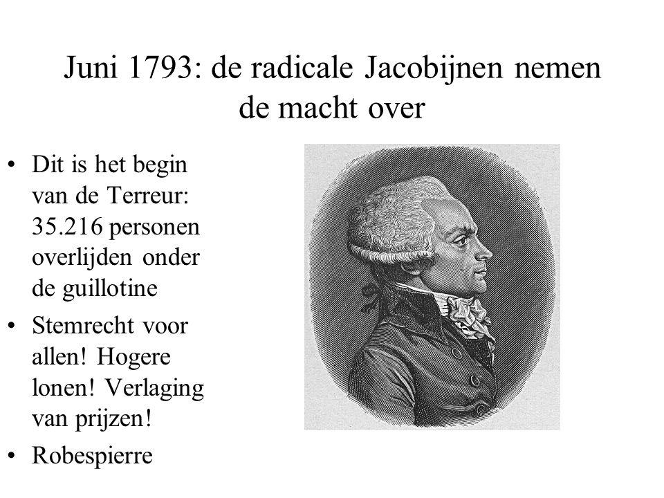 Juni 1793: de radicale Jacobijnen nemen de macht over •Dit is het begin van de Terreur: 35.216 personen overlijden onder de guillotine •Stemrecht voor