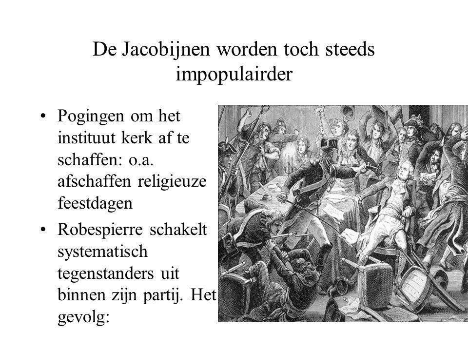 De Jacobijnen worden toch steeds impopulairder •Pogingen om het instituut kerk af te schaffen: o.a. afschaffen religieuze feestdagen •Robespierre scha