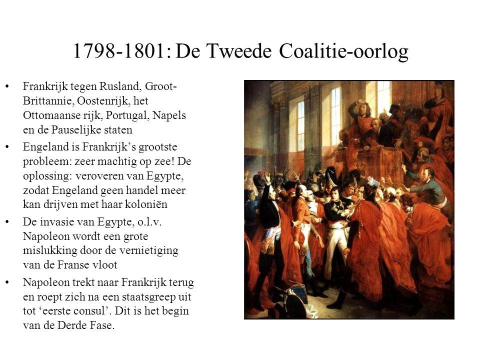 1798-1801: De Tweede Coalitie-oorlog •Frankrijk tegen Rusland, Groot- Brittannie, Oostenrijk, het Ottomaanse rijk, Portugal, Napels en de Pauselijke s