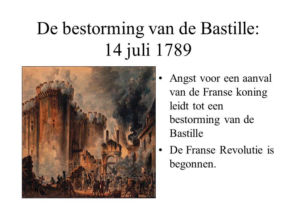 De bestorming van de Bastille: 14 juli 1789 •Angst voor een aanval van de Franse koning leidt tot een bestorming van de Bastille •De Franse Revolutie