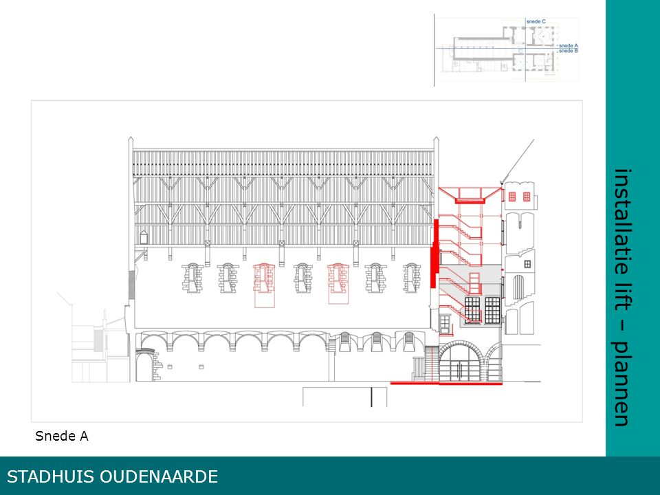 installatie lift – plannen STADHUIS OUDENAARDE Snede A