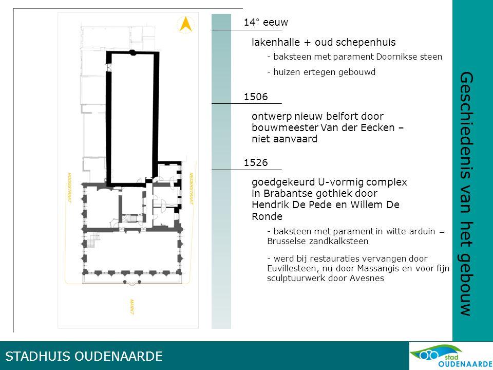 Geschiedenis van het gebouw 14° eeuw lakenhalle + oud schepenhuis - baksteen met parament Doornikse steen - huizen ertegen gebouwd 1506 ontwerp nieuw