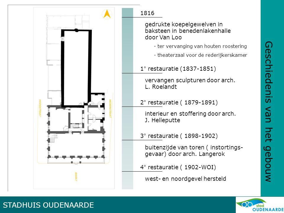 STADHUIS OUDENAARDE Geschiedenis van het gebouw 5° restauratie (1927-1940) vernieuwen delen voorgevel (oorlogsschade) – verfraaien interieur – inrichten museumzaal + archiefkamer olv arch.