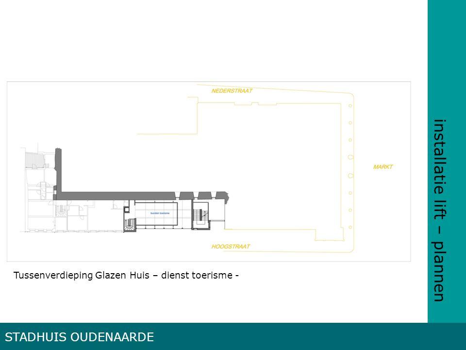 installatie lift – plannen STADHUIS OUDENAARDE Tussenverdieping Glazen Huis – dienst toerisme -