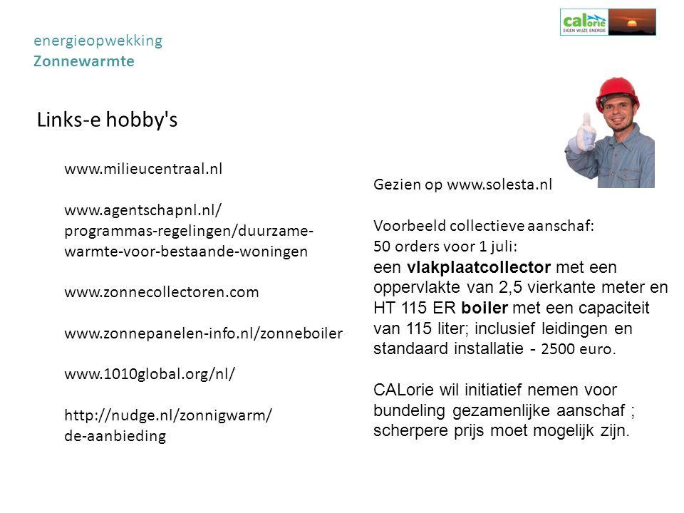 Links-e hobby's Gezien op www.solesta.nl Voorbeeld collectieve aanschaf: 50 orders voor 1 juli: een vlakplaatcollector met een oppervlakte van 2,5 vie