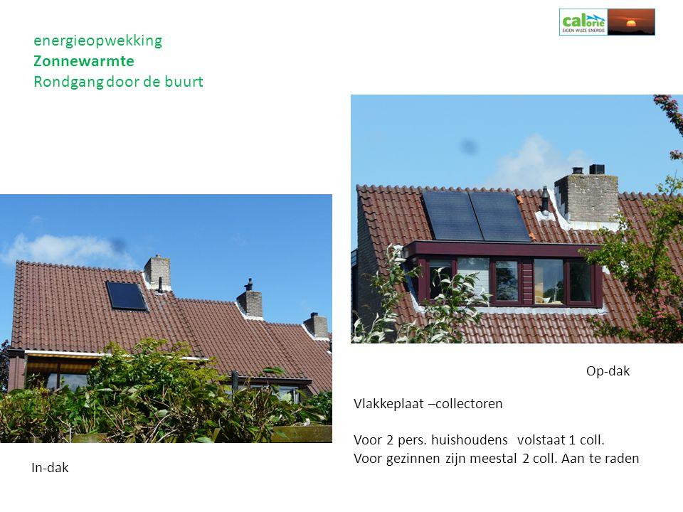 energieopwekking Zonnewarmte Rondgang door de buurt Op-dak Vlakkeplaat –collectoren Voor 2 pers. huishoudens volstaat 1 coll. Voor gezinnen zijn meest