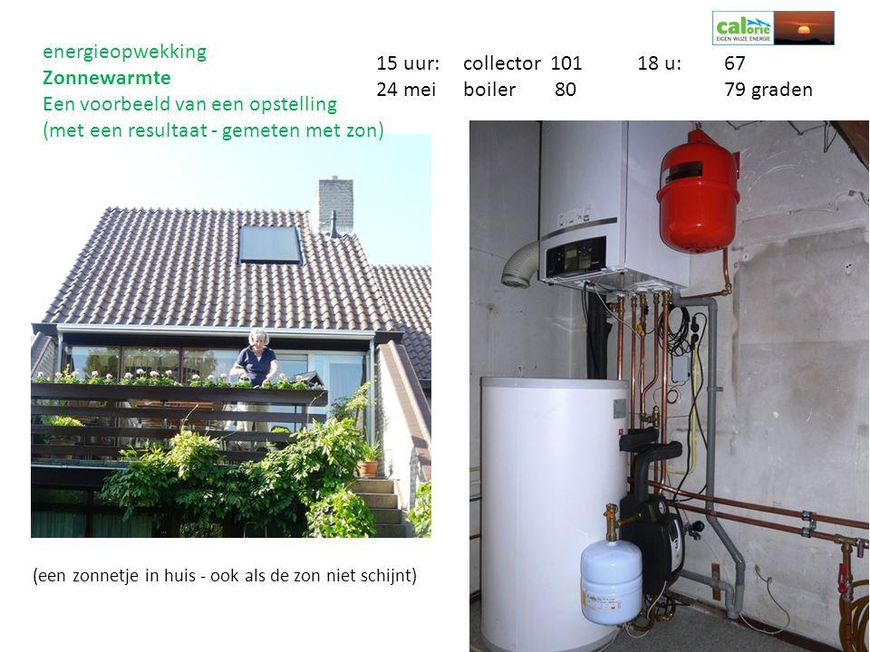 (een zonnetje in huis - ook als de zon niet schijnt) 15 uur:collector 10118 u:67 24 meiboiler 8079 graden energieopwekking Zonnewarmte Een voorbeeld v