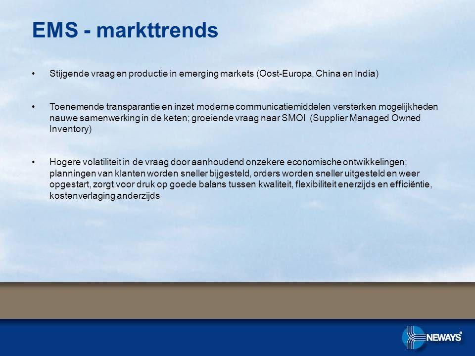 EMS - markttrends •Stijgende vraag en productie in emerging markets (Oost-Europa, China en India) •Toenemende transparantie en inzet moderne communica
