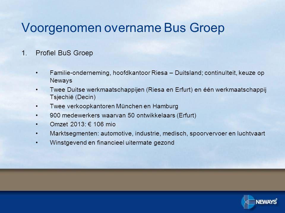 Voorgenomen overname Bus Groep 1.Profiel BuS Groep •Familie-onderneming, hoofdkantoor Riesa – Duitsland; continuïteit, keuze op Neways •Twee Duitse we