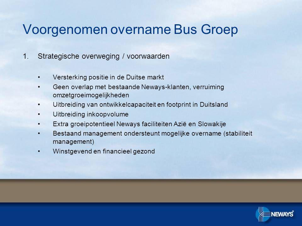 Voorgenomen overname Bus Groep 1.Strategische overweging / voorwaarden •Versterking positie in de Duitse markt •Geen overlap met bestaande Neways-klan