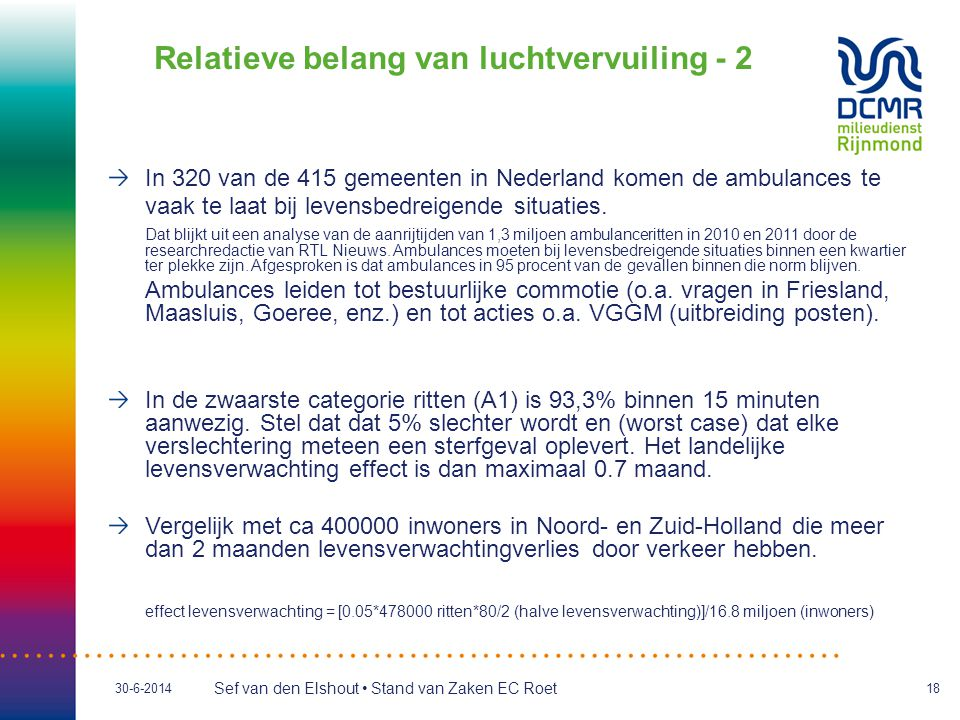 Sef van den Elshout • Stand van Zaken EC Roet 30-6-201418 Relatieve belang van luchtvervuiling - 2 In 320 van de 415 gemeenten in Nederland komen de a