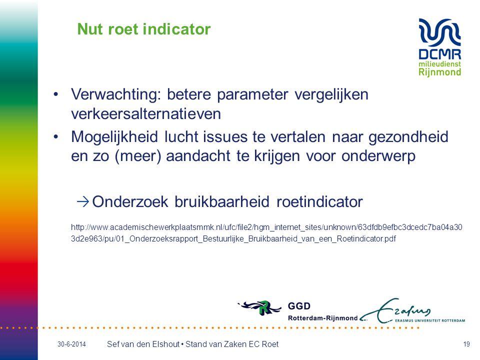 Sef van den Elshout • Stand van Zaken EC Roet 30-6-201419 Nut roet indicator •Verwachting: betere parameter vergelijken verkeersalternatieven •Mogelijkheid lucht issues te vertalen naar gezondheid en zo (meer) aandacht te krijgen voor onderwerp Onderzoek bruikbaarheid roetindicator http://www.academischewerkplaatsmmk.nl/ufc/file2/hgm_internet_sites/unknown/63dfdb9efbc3dcedc7ba04a30 3d2e963/pu/01_Onderzoeksrapport_Bestuurlijke_Bruikbaarheid_van_een_Roetindicator.pdf