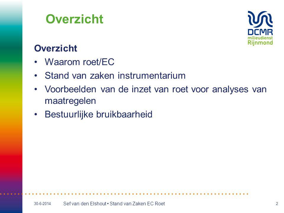 Sef van den Elshout • Stand van Zaken EC Roet 30-6-20142 Overzicht •Waarom roet/EC •Stand van zaken instrumentarium •Voorbeelden van de inzet van roet voor analyses van maatregelen •Bestuurlijke bruikbaarheid Overzicht