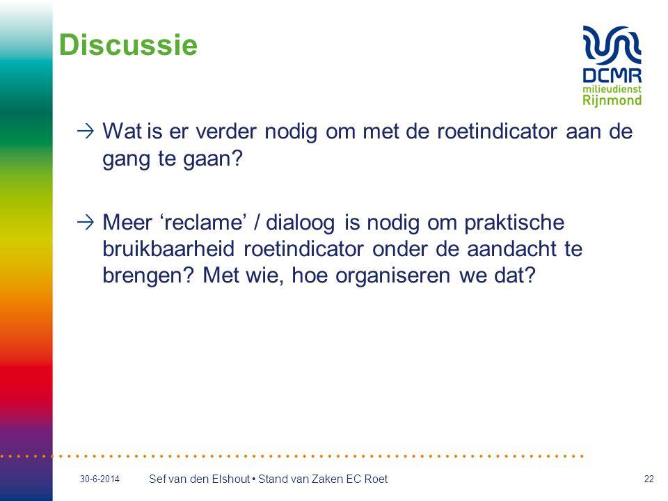 Sef van den Elshout • Stand van Zaken EC Roet 30-6-201422 Wat is er verder nodig om met de roetindicator aan de gang te gaan? Meer 'reclame' / dialoog