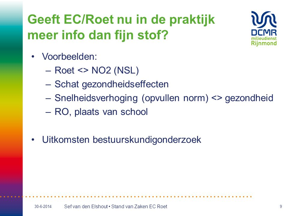 Sef van den Elshout • Stand van Zaken EC Roet 30-6-20149 •Voorbeelden: –Roet <> NO2 (NSL) –Schat gezondheidseffecten –Snelheidsverhoging (opvullen nor