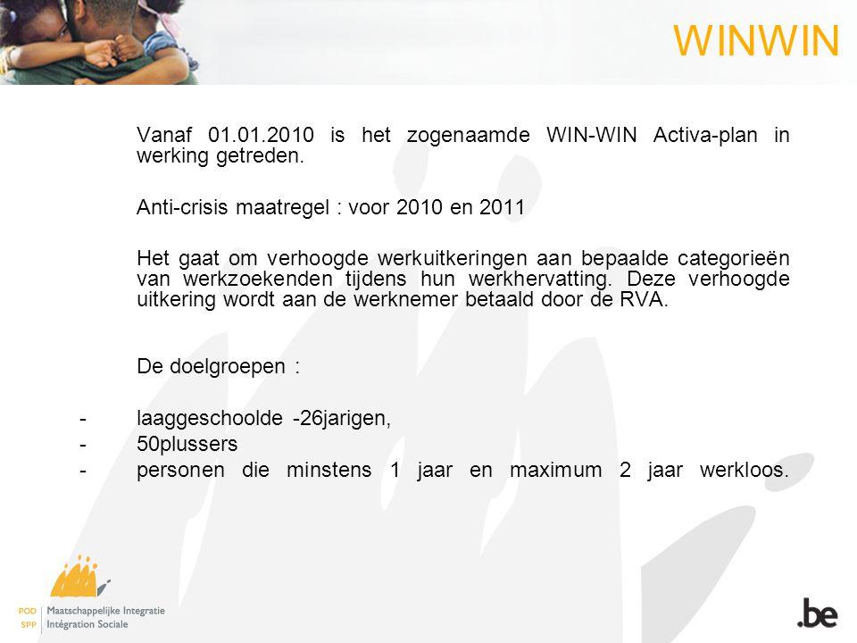 WINWIN → 26 jarige OCMW-gerechtigden komen ook in aanmerking voor het win-win Activaplan.