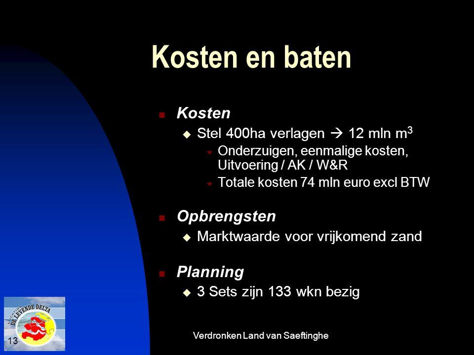 Verdronken Land van Saeftinghe 13 Kosten en baten  Kosten  Stel 400ha verlagen  12 mln m 3  Onderzuigen, eenmalige kosten, Uitvoering / AK / W&R 