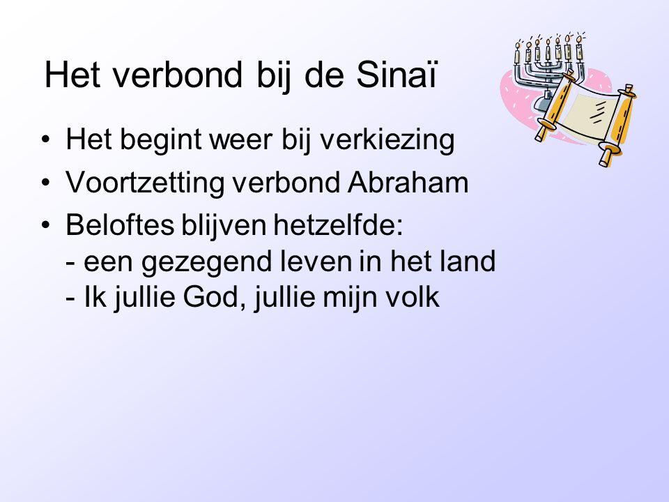 Het verbond bij de Sinaï •Het begint weer bij verkiezing •Voortzetting verbond Abraham •Beloftes blijven hetzelfde: - een gezegend leven in het land -