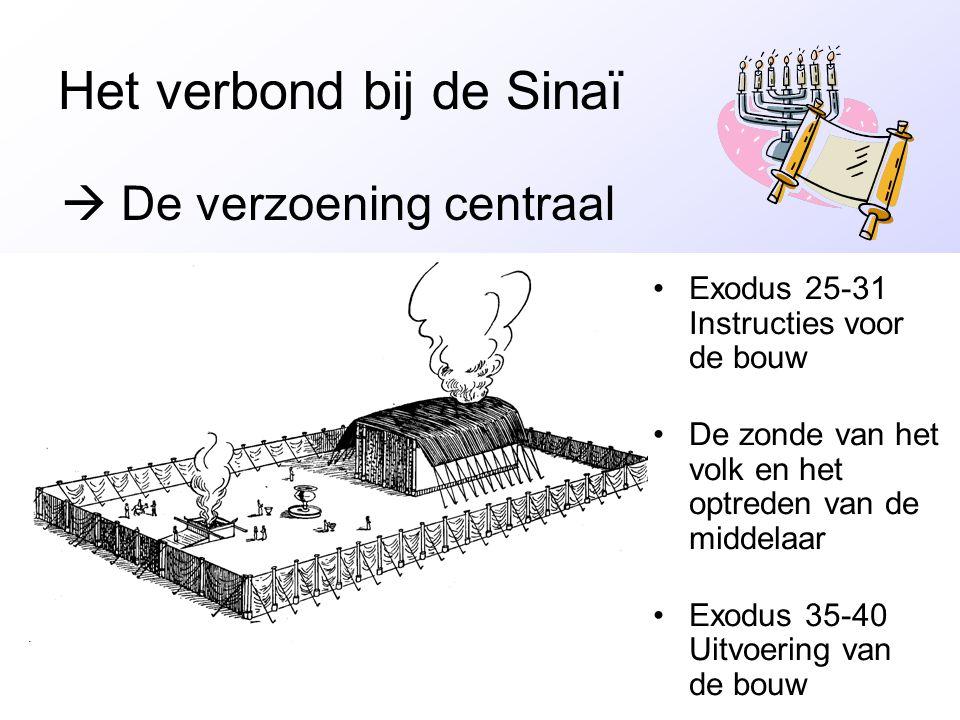 E Het verbond bij de Sinaï •Exodus 25-31 Instructies voor de bouw •De zonde van het volk en het optreden van de middelaar •Exodus 35-40 Uitvoering van