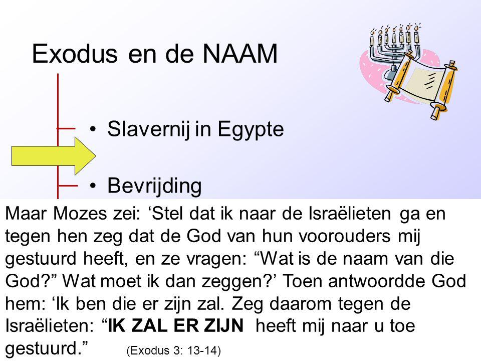 Exodus en de NAAM •Slavernij in Egypte •Bevrijding •Leven met God (wet en overtreding) •Gods tent bij de mensen Maar Mozes zei: 'Stel dat ik naar de I