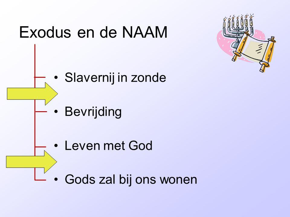 Exodus en de NAAM •Slavernij in zonde •Bevrijding •Leven met God •Gods zal bij ons wonen