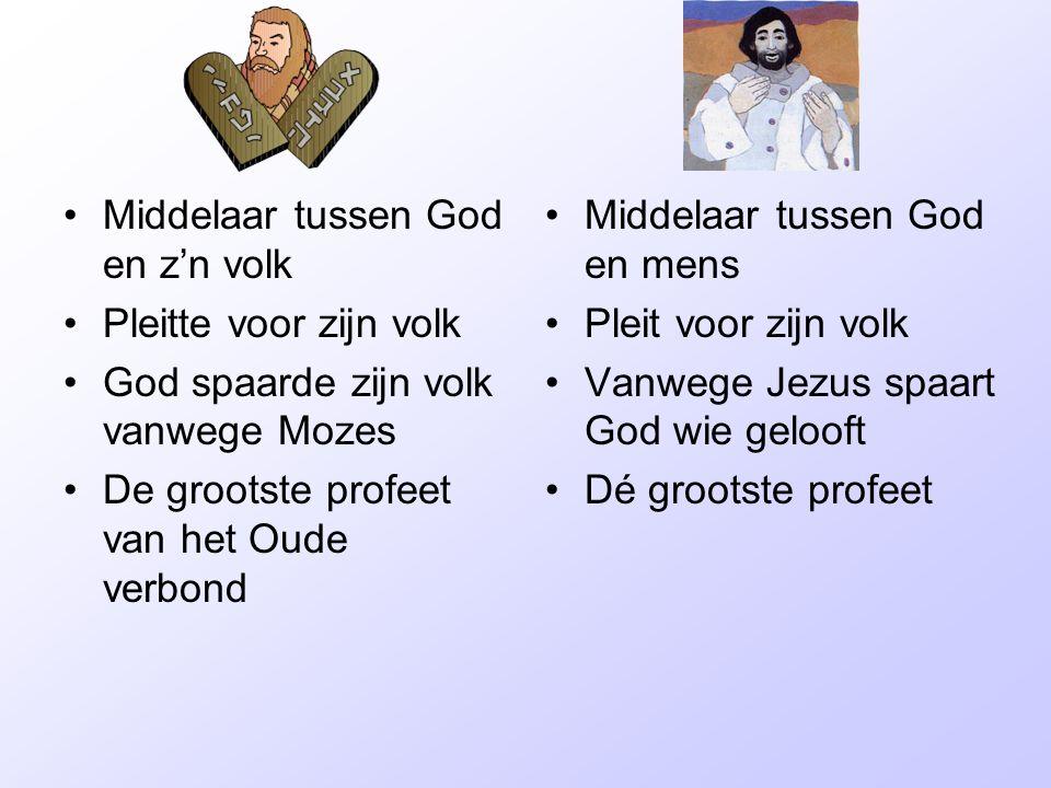 •Middelaar tussen God en z'n volk •Pleitte voor zijn volk •God spaarde zijn volk vanwege Mozes •De grootste profeet van het Oude verbond •Middelaar tu