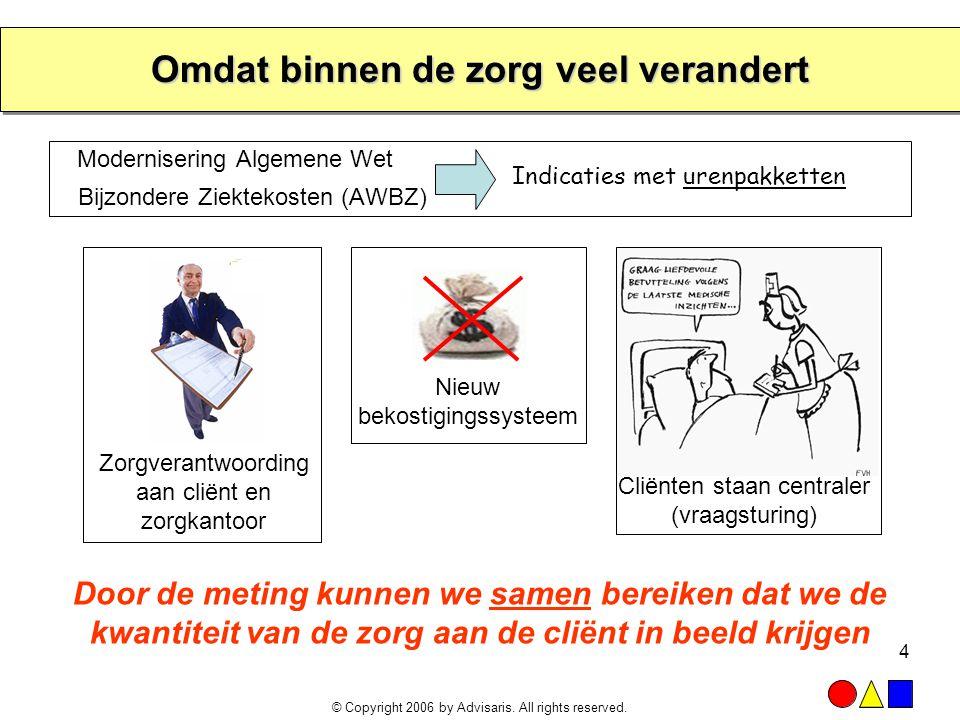 © Copyright 2006 by Advisaris. All rights reserved. 4 Omdat binnen de zorg veel verandert Modernisering Algemene Wet Bijzondere Ziektekosten (AWBZ) Do