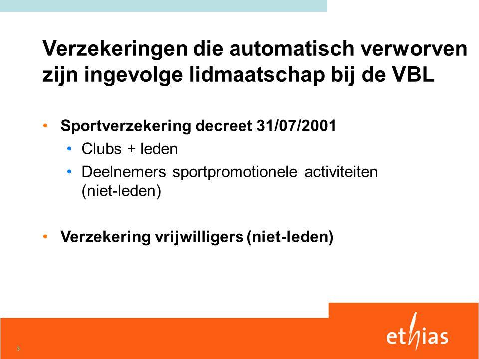 3 •Sportverzekering decreet 31/07/2001 •Clubs + leden •Deelnemers sportpromotionele activiteiten (niet-leden) •Verzekering vrijwilligers (niet-leden)