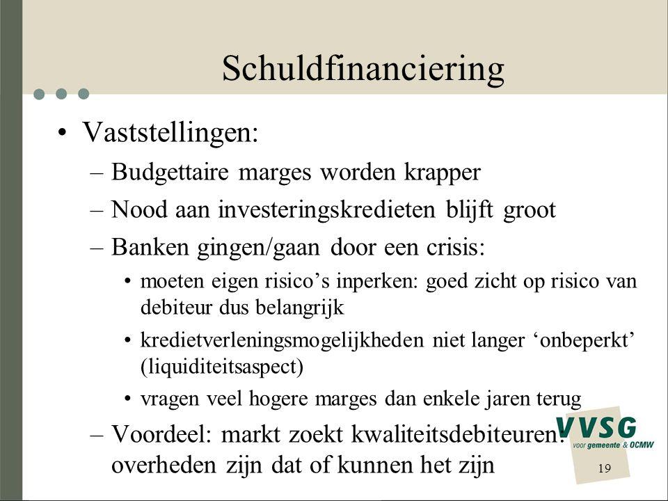 Schuldfinanciering •Vaststellingen: –Budgettaire marges worden krapper –Nood aan investeringskredieten blijft groot –Banken gingen/gaan door een crisis: •moeten eigen risico's inperken: goed zicht op risico van debiteur dus belangrijk •kredietverleningsmogelijkheden niet langer 'onbeperkt' (liquiditeitsaspect) •vragen veel hogere marges dan enkele jaren terug –Voordeel: markt zoekt kwaliteitsdebiteuren: overheden zijn dat of kunnen het zijn 19