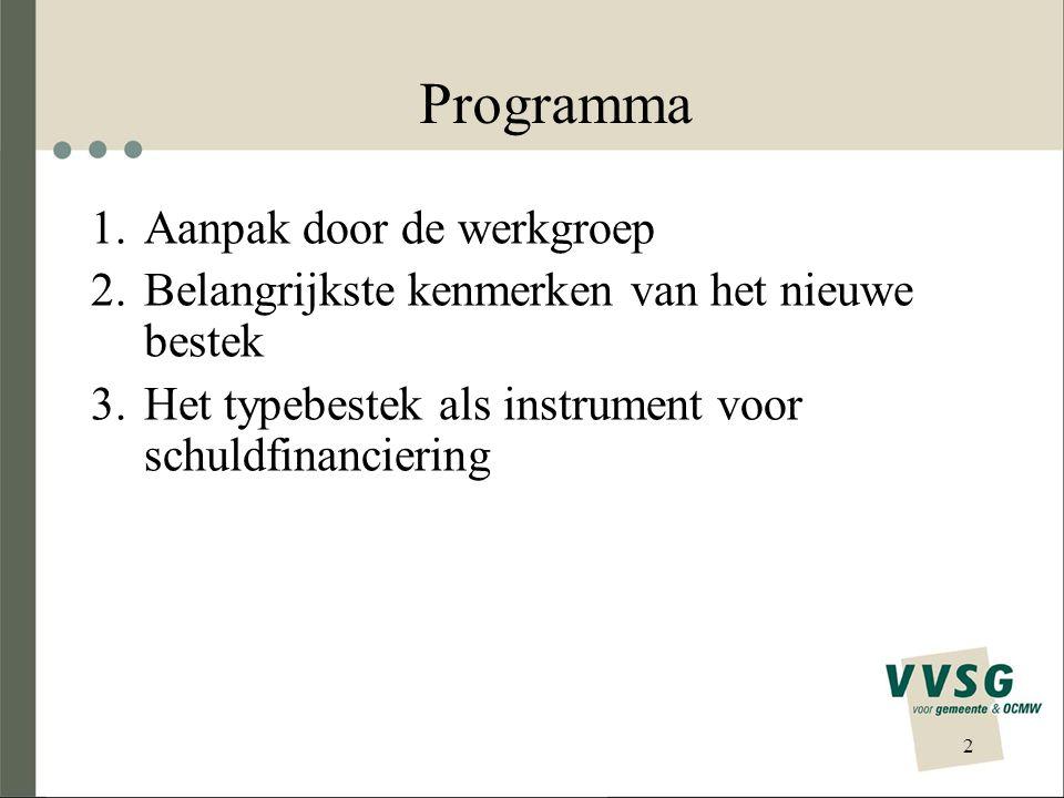 2 Programma 1.Aanpak door de werkgroep 2.Belangrijkste kenmerken van het nieuwe bestek 3.Het typebestek als instrument voor schuldfinanciering
