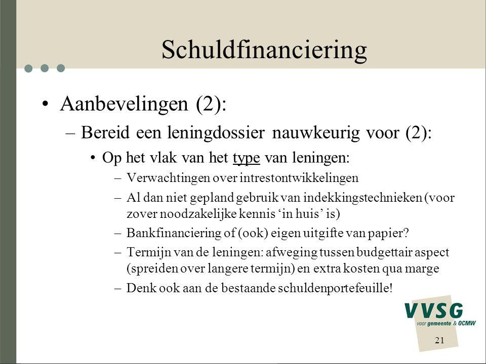 Schuldfinanciering •Aanbevelingen (2): –Bereid een leningdossier nauwkeurig voor (2): •Op het vlak van het type van leningen: –Verwachtingen over intrestontwikkelingen –Al dan niet gepland gebruik van indekkingstechnieken (voor zover noodzakelijke kennis 'in huis' is) –Bankfinanciering of (ook) eigen uitgifte van papier.