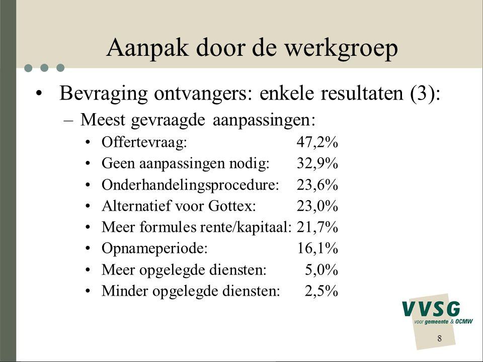 8 Aanpak door de werkgroep •Bevraging ontvangers: enkele resultaten (3): –Meest gevraagde aanpassingen: •Offertevraag:47,2% •Geen aanpassingen nodig:32,9% •Onderhandelingsprocedure:23,6% •Alternatief voor Gottex:23,0% •Meer formules rente/kapitaal:21,7% •Opnameperiode:16,1% •Meer opgelegde diensten:5,0% •Minder opgelegde diensten:2,5%