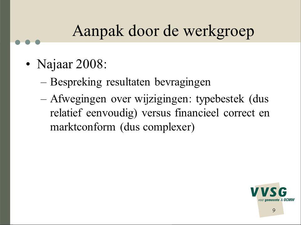 Aanpak door de werkgroep •Najaar 2008: –Bespreking resultaten bevragingen –Afwegingen over wijzigingen: typebestek (dus relatief eenvoudig) versus financieel correct en marktconform (dus complexer) 9