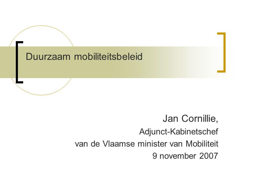 Duurzaam mobiliteitsbeleid Jan Cornillie, Adjunct-Kabinetschef van de Vlaamse minister van Mobiliteit 9 november 2007