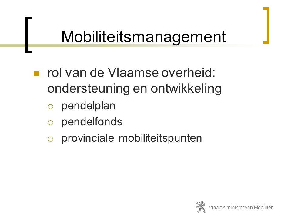 Mobiliteitsmanagement  rol van de Vlaamse overheid: ondersteuning en ontwikkeling  pendelplan  pendelfonds  provinciale mobiliteitspunten Vlaams m