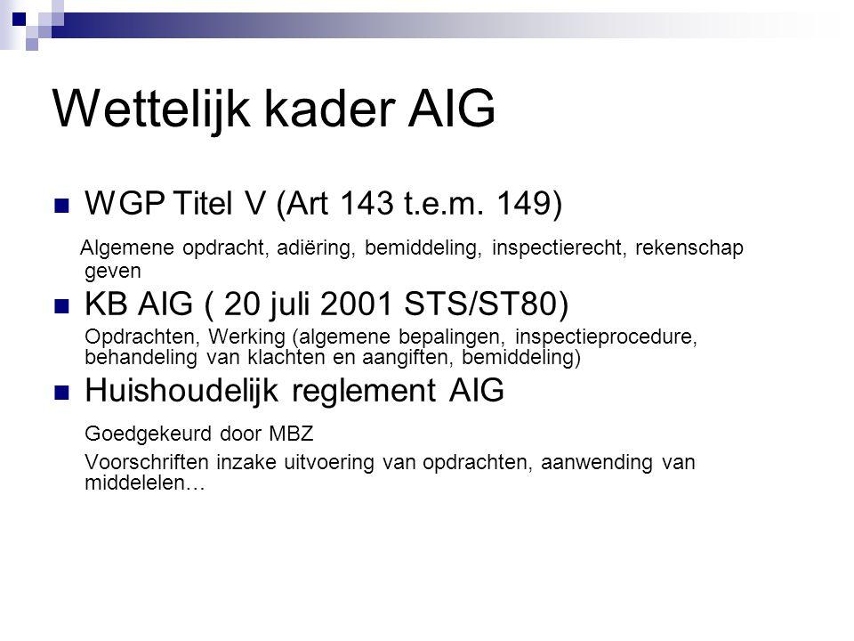 Wettelijk kader AIG  WGP Titel V (Art 143 t.e.m. 149) Algemene opdracht, adiëring, bemiddeling, inspectierecht, rekenschap geven  KB AIG ( 20 juli 2
