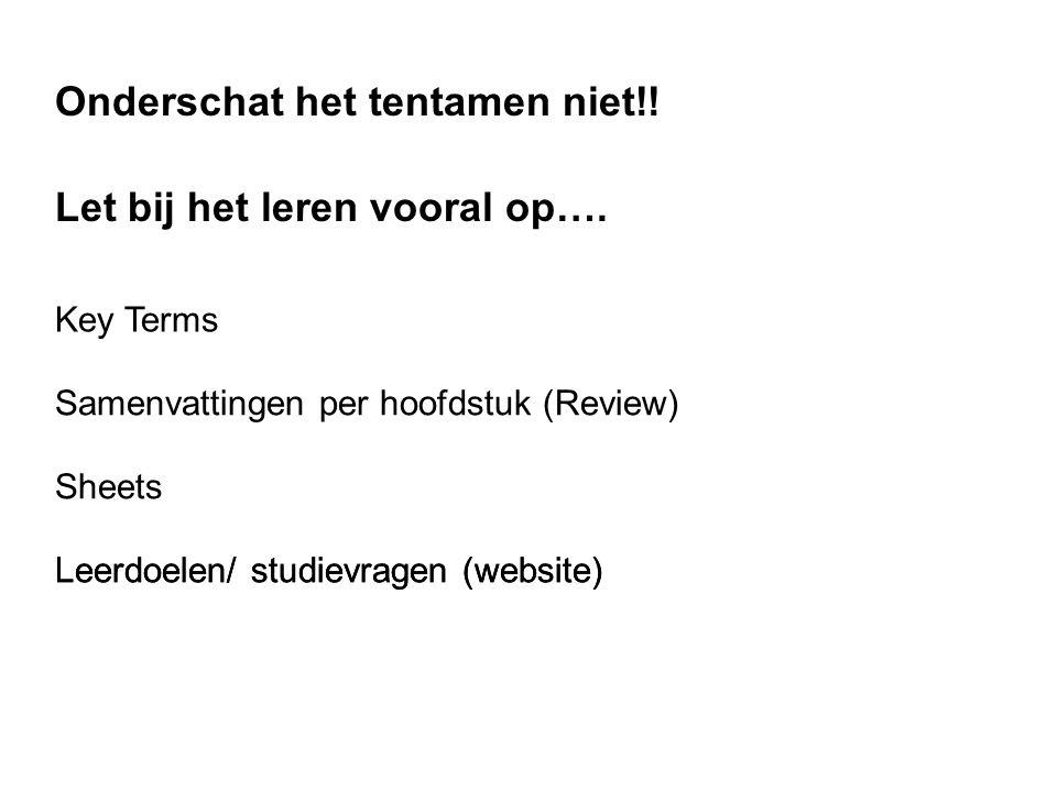 Key Terms Samenvattingen per hoofdstuk (Review) Let bij het leren vooral op…. Sheets Leerdoelen/ studievragen (website) Onderschat het tentamen niet!!