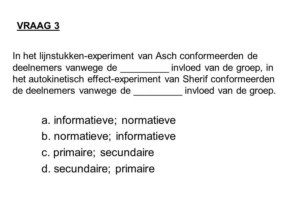 In het lijnstukken-experiment van Asch conformeerden de deelnemers vanwege de _________ invloed van de groep, in het autokinetisch effect-experiment v