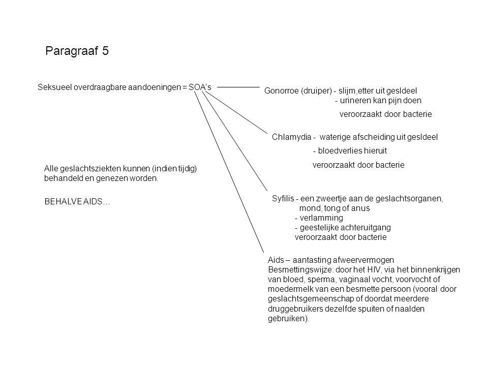 Paragraaf 5 Seksueel overdraagbare aandoeningen = SOA's Gonorroe (druiper) - slijm,etter uit gesldeel - urineren kan pijn doen veroorzaakt door bacter
