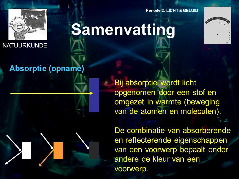 NATUURKUNDE Periode 2: LICHT & GELUID Samenvatting Absorptie (opname) Bij absorptie wordt licht opgenomen door een stof en omgezet in warmte (beweging