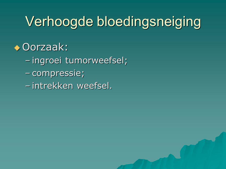 Verhoogde bloedingsneiging  Oorzaak: –ingroei tumorweefsel; –compressie; –intrekken weefsel.