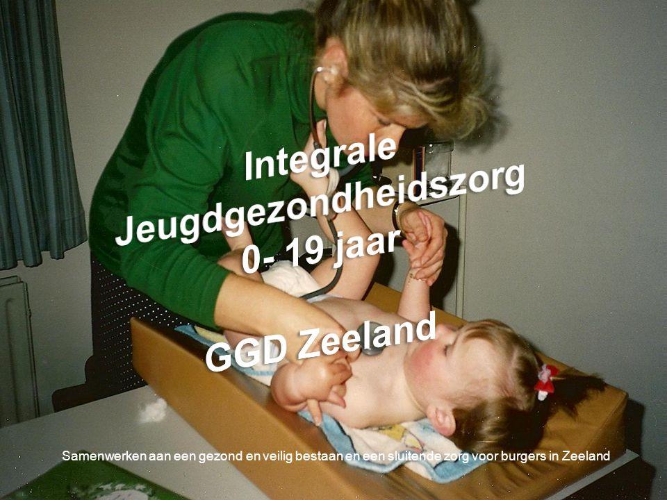 Tot 2003 Jeugd Gezondheidszorg Zeeland Uitvoering door 4 organisaties JGZ 4-19 jr Provinciaal (GGD Zeeland ) JGZ 0-4 jr Zeeuws Vlaanderen( Zorgsaam) JGZ 0-4 jr Oosterschelderegio (Allévo) JGZ 0-4 jr Walcheren ( Zorgstroom) Vanaf 2003 regie JGZ bij gemeenten